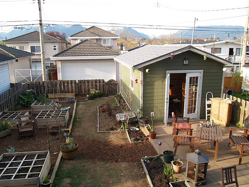 Our new backyard studio, converted from the falling-down garage.