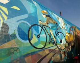 One of many bike murals on the Adanac bike route