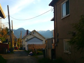 Typical east van alley with mountains shot