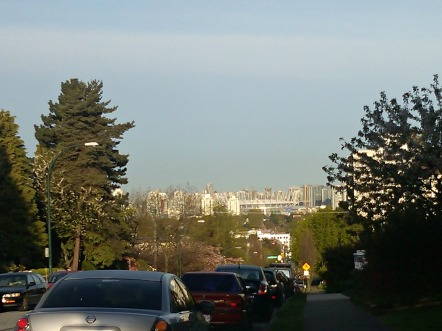 The view of downtown from the top of Adanac hill.