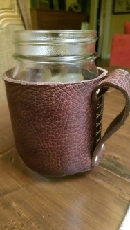 Got a pair of beautiful leather cup holders in trade for some crochet - handmade by my lovely friend Kyla.