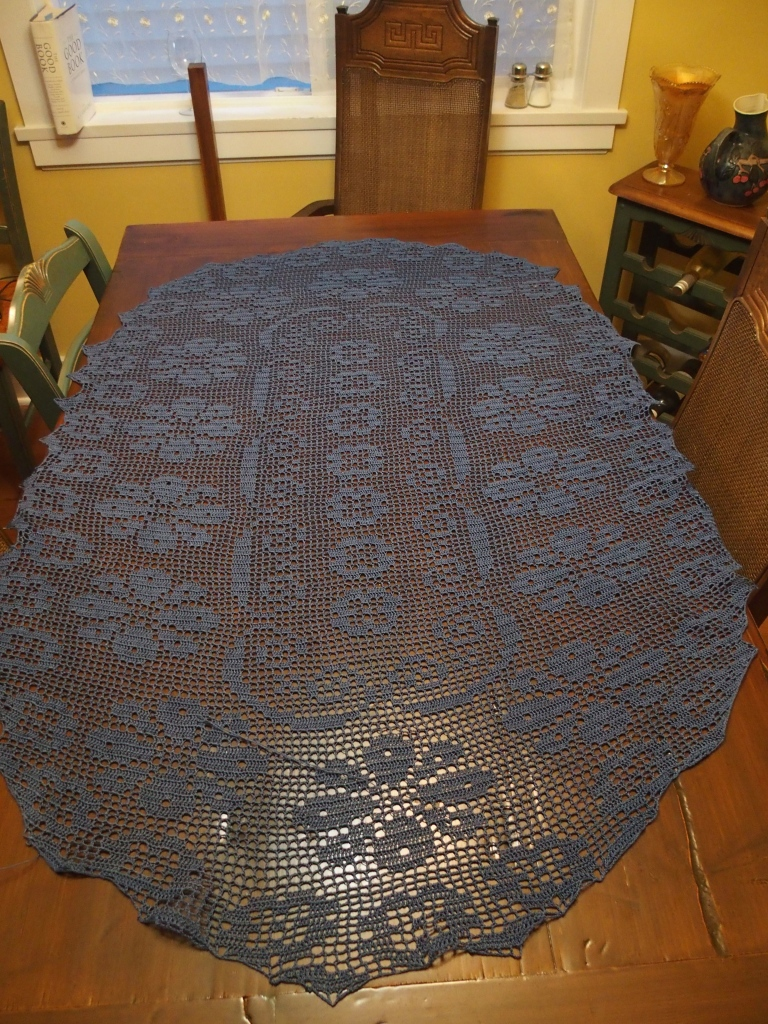 Lace table runner - crochet - worked all summer long.