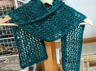 Finally blocked this scarf - Mad Tosh yarn, knitted in the summer.