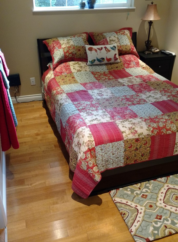 Was given new bedding for the guest room.
