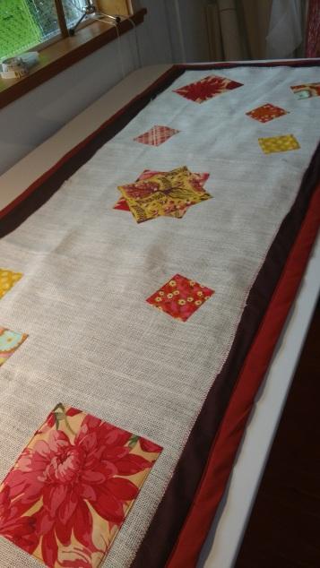 Made linens - a table runner - for Thanksgiving dinner.